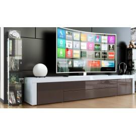 Meuble bas tv laqué blanc / chocolat