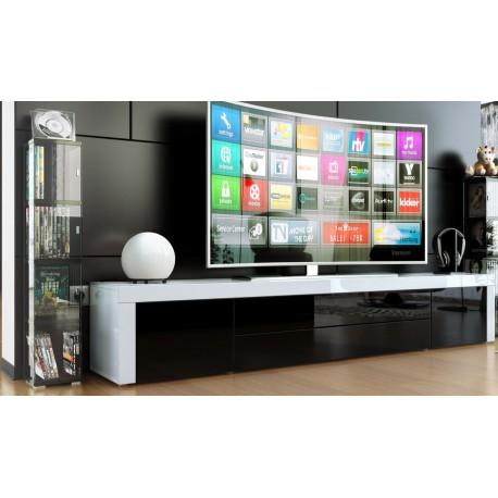 meuble tv bas laqué blanc / noir