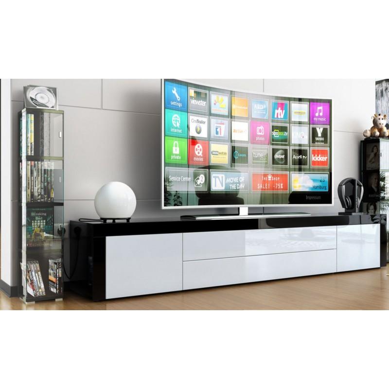 Meuble tv bas laqu noir blanc ja discount - Meuble bas laque blanc ...