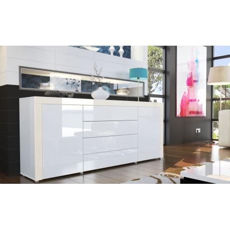 Buffet design laqué blanc/blanc/crème