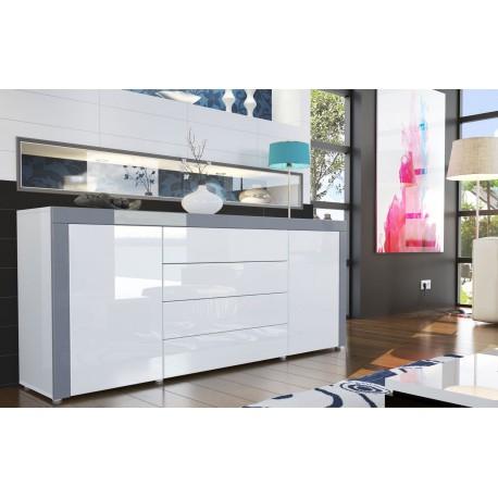 Buffet design laqué blanc /blanc/ gris