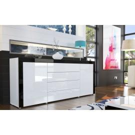 Bahut design laqué blanc et noir