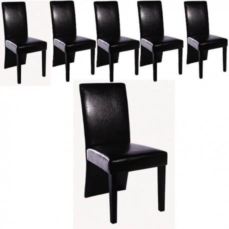ensemble de 6 chaises simili cuir noir - Chaise Simili Cuir