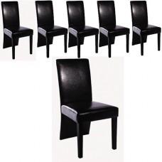 Ensemble de 6 chaises simili cuir noir