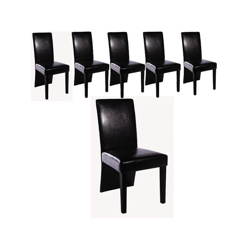Ensemble De 6 Chaises Simili Cuir Noir Ja Discount