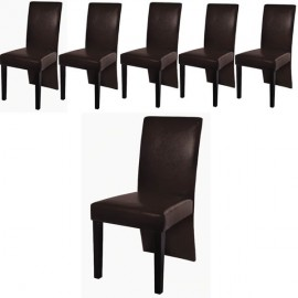 Ensemble de 6 chaises simili cuir marron