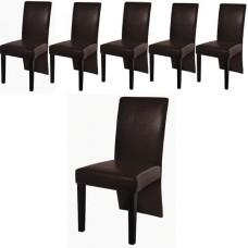 Ensemble de 6 chaises simili cuir marron