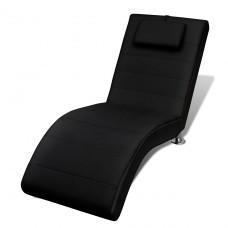 Chaise longue avec 2 pieds et appui-tête en noir