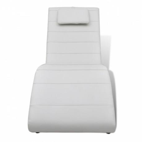 Chaise longue avec 2 pieds et appui-tête en blanc