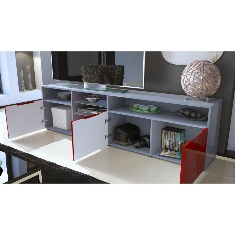 Meuble tv bas blanc gris 194 cm - Les trois suisses meubles ...