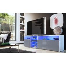 Meuble tv bas blanc / gris 194 cm