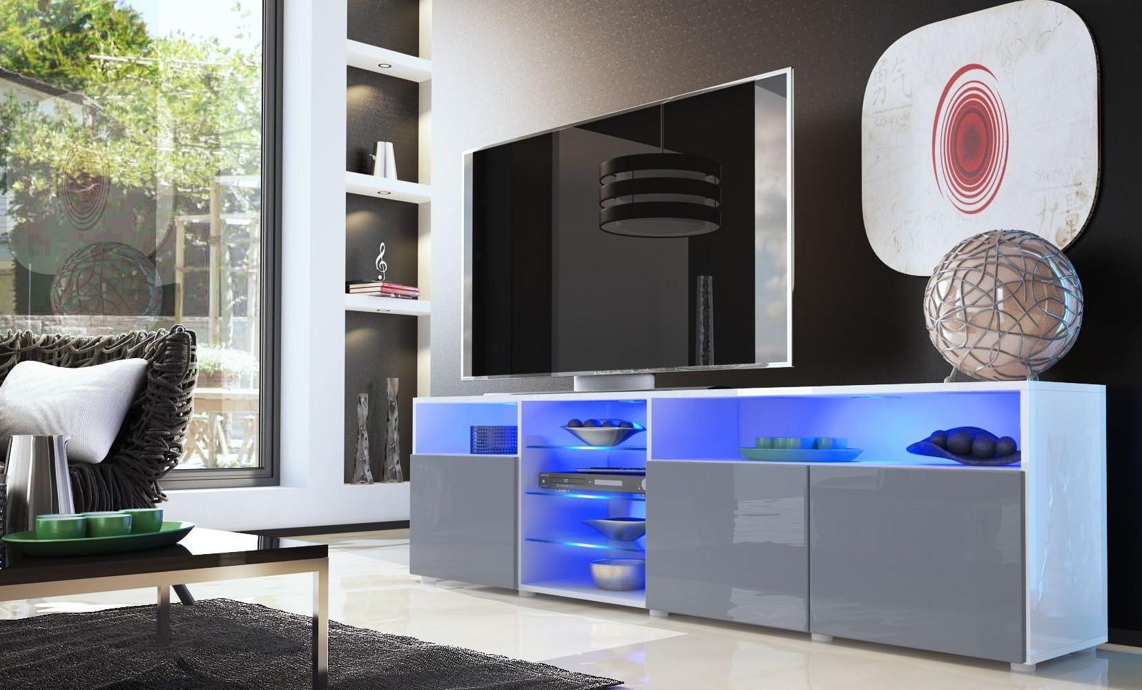 meuble tv bas blanc gris 194 cm. Black Bedroom Furniture Sets. Home Design Ideas