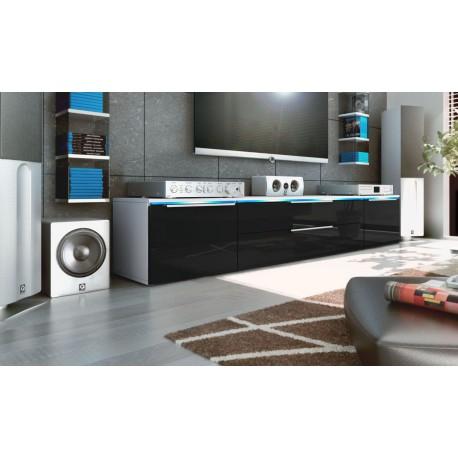Meuble bas tv blanc / noir 200 cm