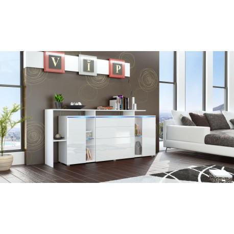 Buffet design vitré blanc avec led 185 cm