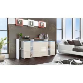 Buffet design vitré blanc et crème avec led 185 cm