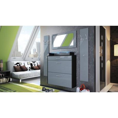 Ensemble d'entrée design meuble à chaussures penderie miroir laqué gris/ blanc
