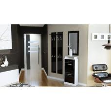 Ensemble de hall d'entrée laqué design blanc et noir