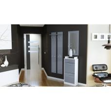 Ensemble de hall d'entrée laqué design blanc et gris