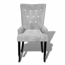 Chaise capitonnée velours gris