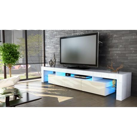 Meuble Tv Blanc 199 Cm Avec Led Ja Discount