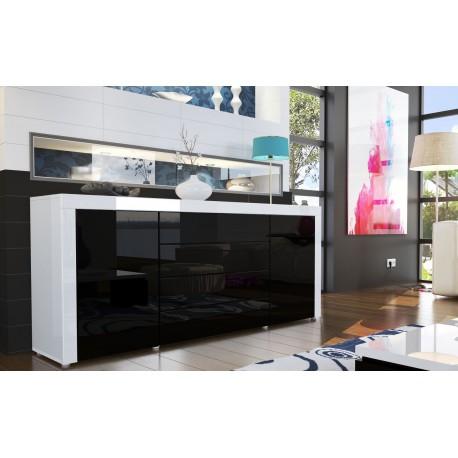 Buffet design laqué blanc / noir - JA Discount