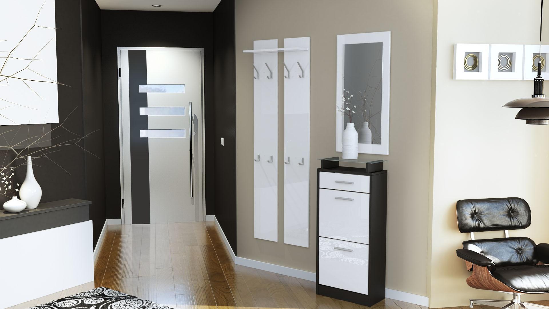 Entrée Noir Et Blanc ensemble de hall d'entrée laqué design blanc - ja discount
